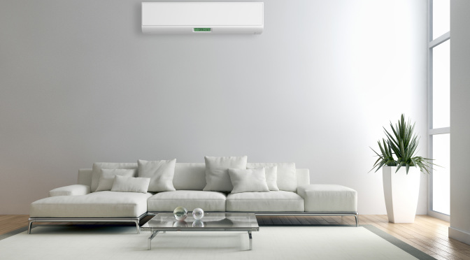 heating and cooling in room with couch and air con