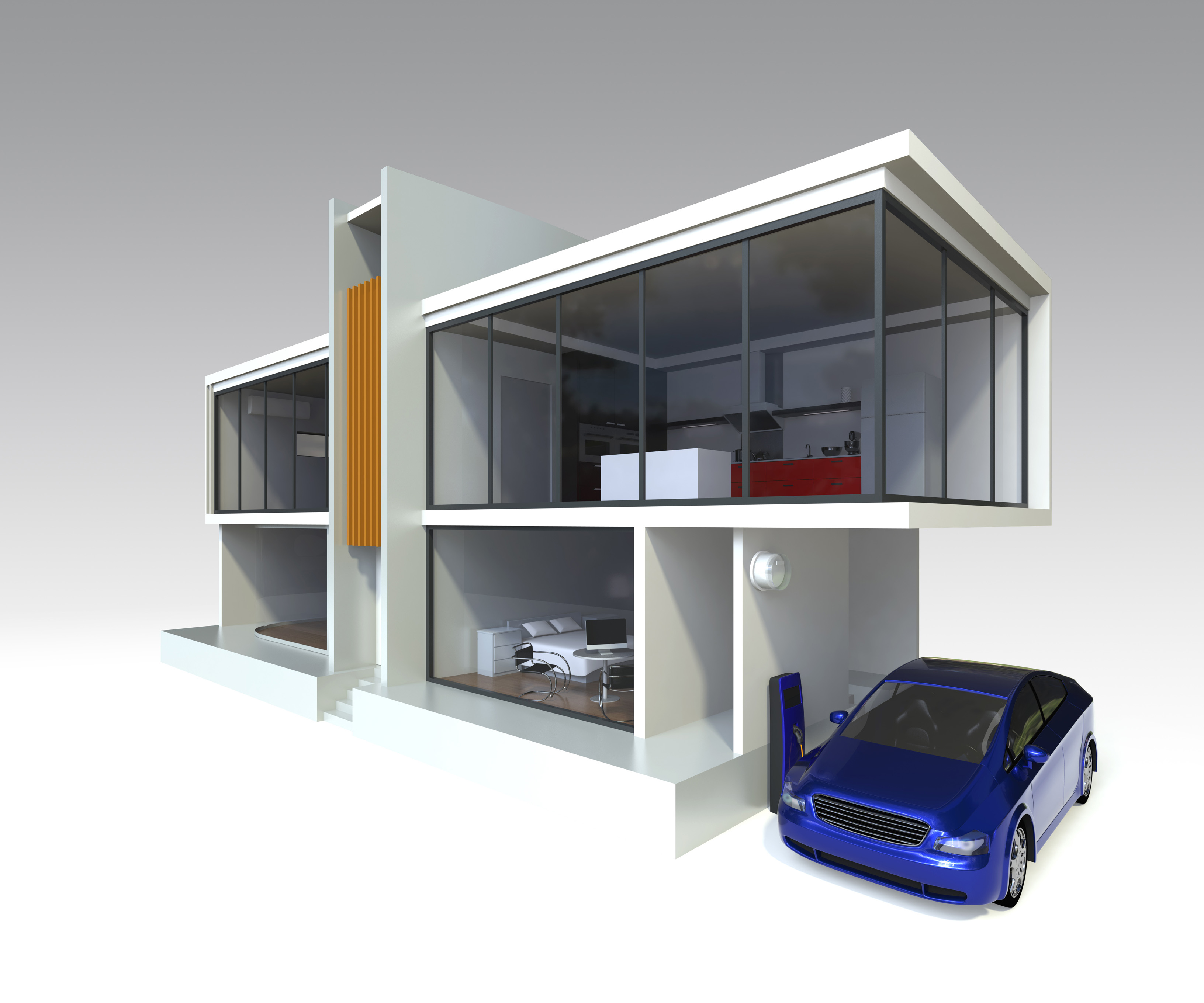 Modern House With Electric Car Ev Charger Bigfan Air